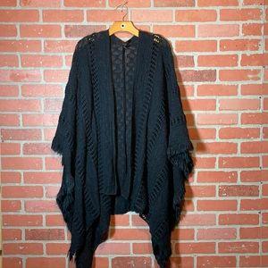 Torrid Super Soft Black Open Knit Fringe Poncho Shawl Kimono Sweater